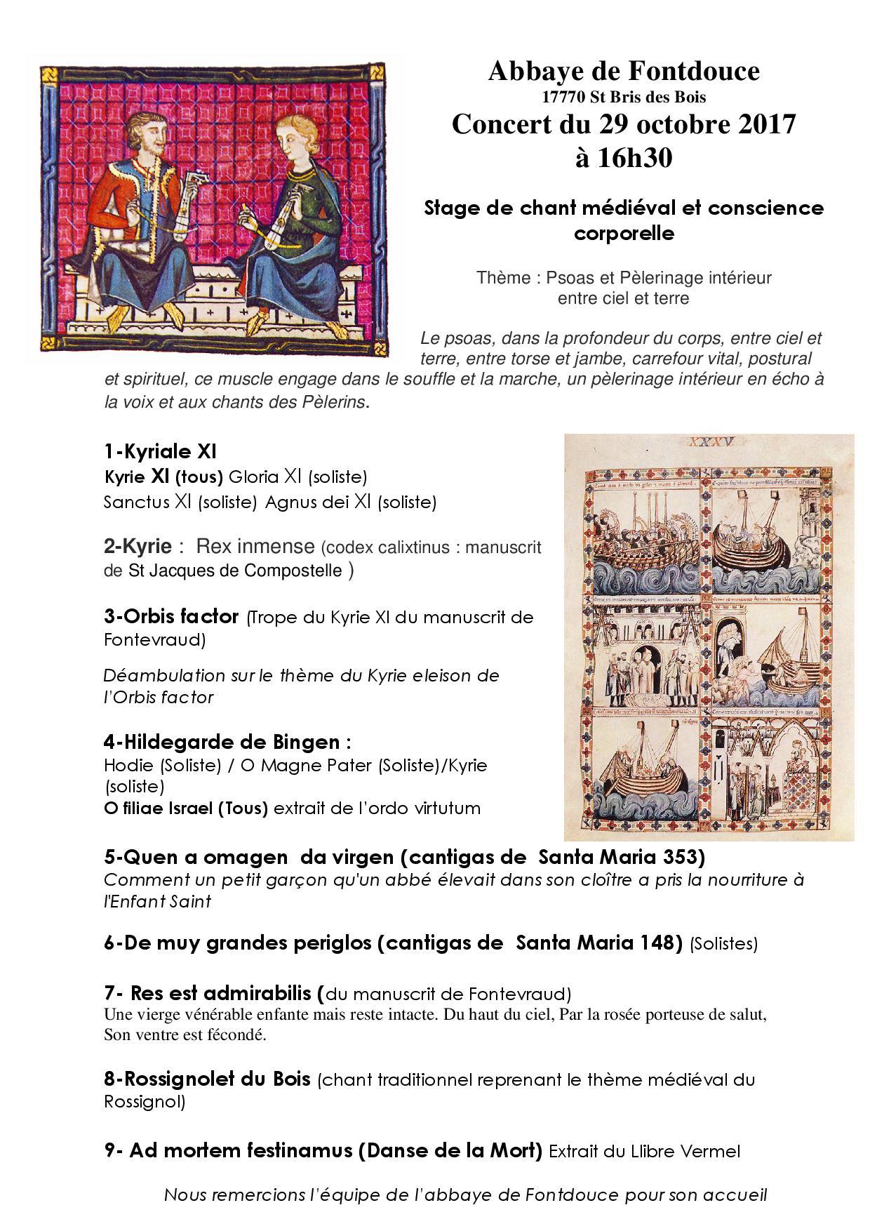 Concert de chant médiéval 2017 à l'Abbaye de Fontdouce
